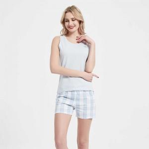 Pijama corto algodón Cuadro...