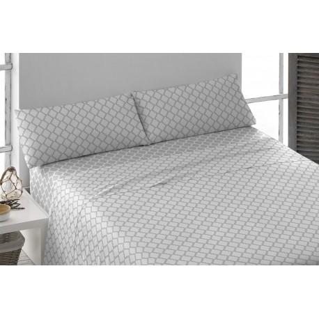 Juego de sábanas algodón 150 MICHIGAN GRIS PERLA