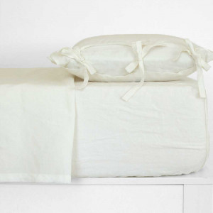 Juego de sábanas lino blanco