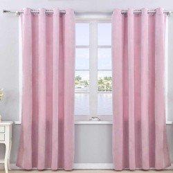 Cortina terciopelo rosa palo opacas