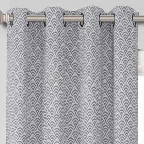 Cortina Jacquard Chenilla Sol gris perla 140X260 rideaux-opaques