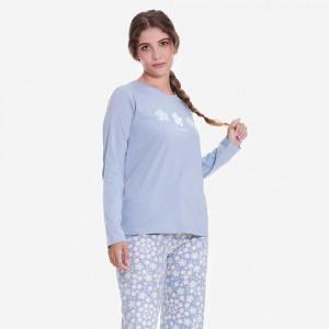 Pijama largo algodón Flores...