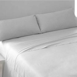 Juego de sábanas algodón satén blanco 180 cama-180