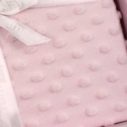 Manta Bebe Pompitas 80x100 Rosa manta-bebe