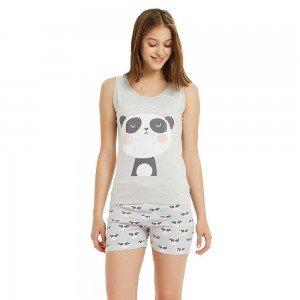 Pijama Corto Panda Gris Perla