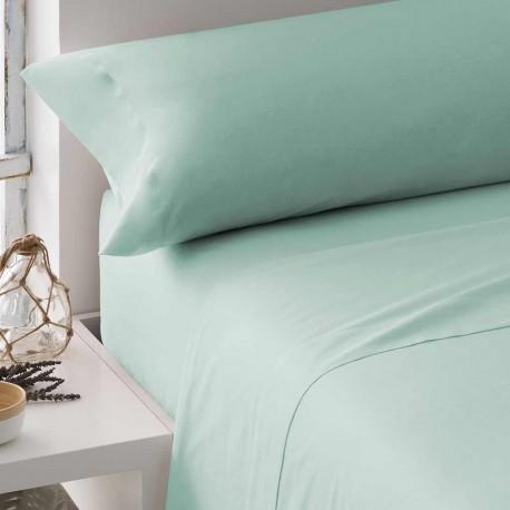 Juego de sábanas algodón percal verde tiffany 135 cama-135