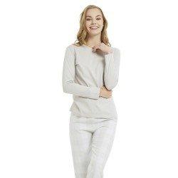 Pijama Largo Franela Fino Cuadro Lolita Gris Perla pijama-invierno