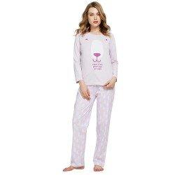 Pijama Largo Algodón HAPPY HOURS Malva pijama-largo