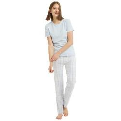 Pijama Manga Corta Mujer CUADRO CLARA Celeste pijama-largo