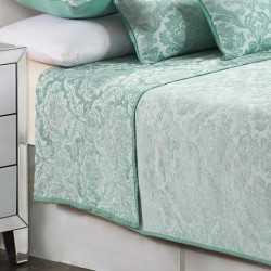 Colcha fina 180x270 Jacquard Chenilla Ornamental Verde Tiffany cama-90