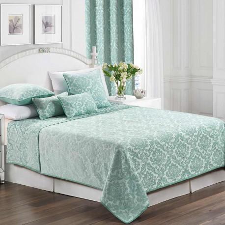 Colcha Jacquard chenilla Ornamental verde Tiffany 200x270 cama-105