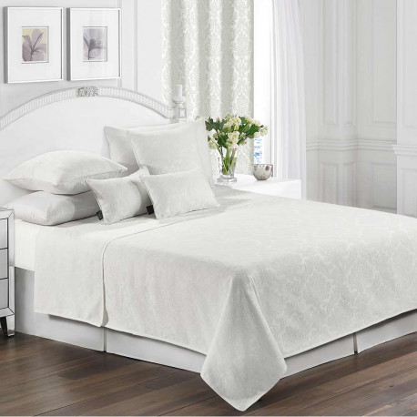 Colcha fina 240x270 Jacquard Chenilla Ornamental Blanco cama-135