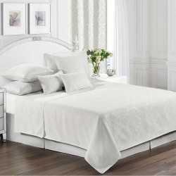 Colcha fina 200x270cm Jacquard Chenilla Ornamental Blanco cama-105