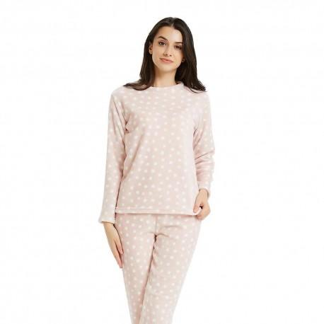 Pijama coral TOPOS Rosa Palo pijama-invierno