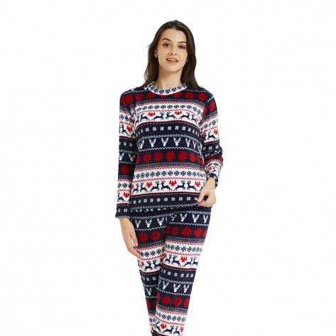 Pijama coral CIERVOS Azul/Rojo pijama-invierno