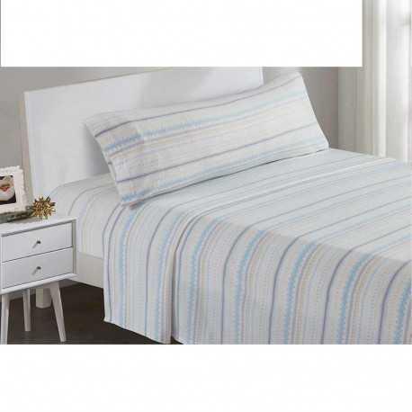 Juegos de sábanas termales 135/140 NAVIDAD celeste/beige cama-135