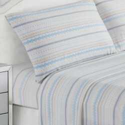 Juego de sábanas termales Navidad celeste/beige 150/160 cama-150