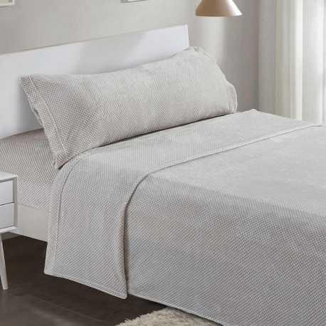 Juego de sábanas terciopelo 90 CHELSEA Gris Perla cama-90