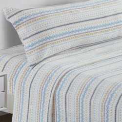 Juego de sábanas terciopelo 90 NAVIDAD celeste/Beige cama-90