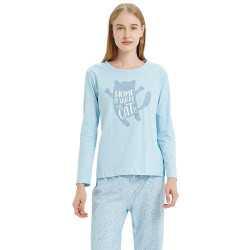 Pijama Mujer Mangas Largas HOMECAT Celeste pijama-largo
