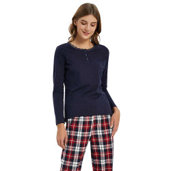 Pijama Mujer Franela cuadro JESSICA Marino pijama-invierno