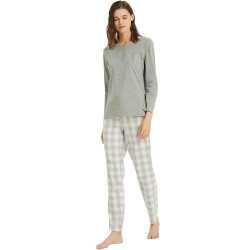 Pijama Mujer Franela cuadro GEMA Perla pijama-invierno