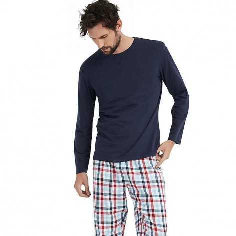 Pijama Hombre Franela cuadro PABLO Marino pijama-hombre