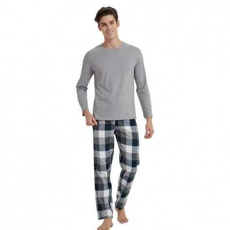 Pijama hombre franela AMSTERDAM gris marengo pijama-hombre