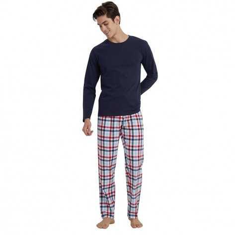 Pijama hombre franela CUADRO JUNIOR marino pijama-hombre