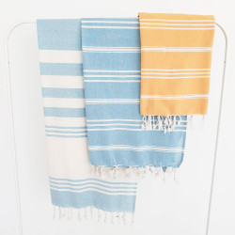 Pareo Rayas Celeste y Natural toallas