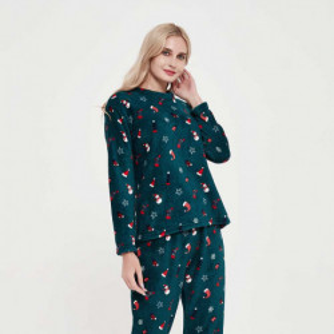 Pijama coral Noel verde pijama-invierno