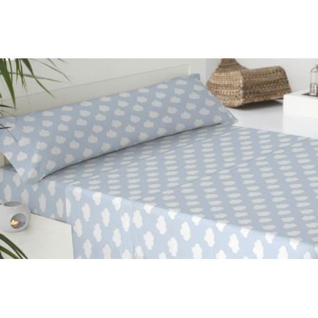 Parure de lit coton 90 NIMBO BLEU CIEL