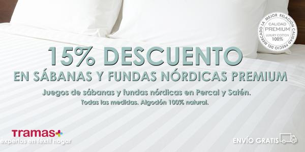 15% descuento en sábanas y fundas nórdicas premium